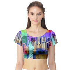 New York City The Statue Of Liberty Short Sleeve Crop Top (Tight Fit)