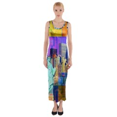 New York City The Statue Of Liberty Fitted Maxi Dress