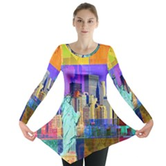 New York City The Statue Of Liberty Long Sleeve Tunic