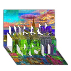 New York City Skyline Miss You 3D Greeting Card (7x5)
