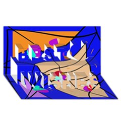 Decorative abstract art Best Wish 3D Greeting Card (8x4)
