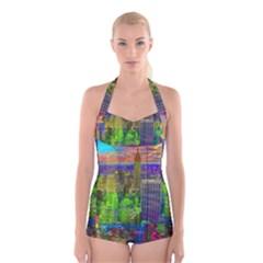 New York City Skyline Boyleg Halter Swimsuit