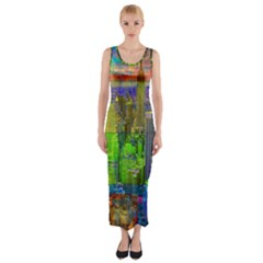 New York City Skyline Fitted Maxi Dress