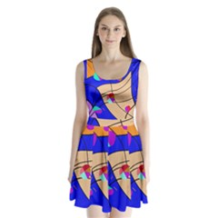 Decorative Abstract Art Split Back Mini Dress