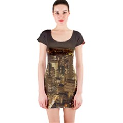 New York City At Night Future City Night Short Sleeve Bodycon Dress