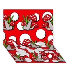 Mushrooms pattern LOVE Bottom 3D Greeting Card (7x5)