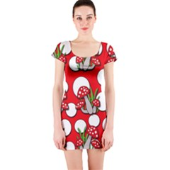 Mushrooms pattern Short Sleeve Bodycon Dress