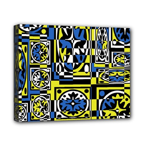Blue and yellow decor Canvas 10  x 8