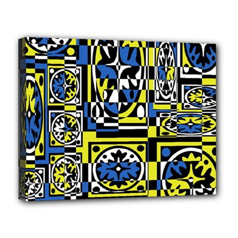Blue and yellow decor Canvas 14  x 11