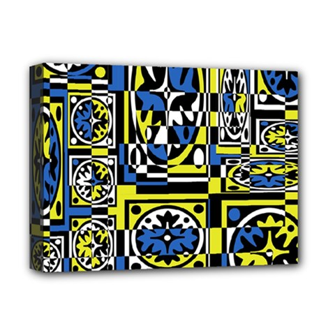 Blue and yellow decor Deluxe Canvas 16  x 12