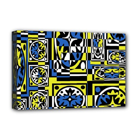 Blue and yellow decor Deluxe Canvas 18  x 12