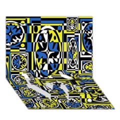 Blue and yellow decor LOVE Bottom 3D Greeting Card (7x5)