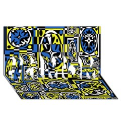 Blue and yellow decor #1 MOM 3D Greeting Cards (8x4)