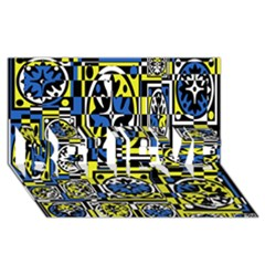 Blue and yellow decor BELIEVE 3D Greeting Card (8x4)