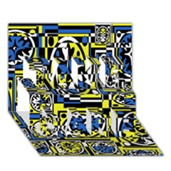 Blue and yellow decor TAKE CARE 3D Greeting Card (7x5)