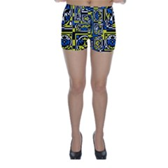 Blue And Yellow Decor Skinny Shorts
