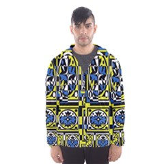 Blue and yellow decor Hooded Wind Breaker (Men)