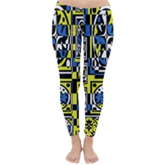 Blue and yellow decor Winter Leggings