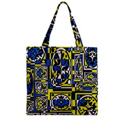 Blue and yellow decor Zipper Grocery Tote Bag