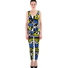 Blue and yellow decor OnePiece Catsuit