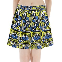 Blue And Yellow Decor Pleated Mini Skirt