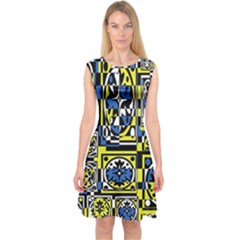 Blue and yellow decor Capsleeve Midi Dress