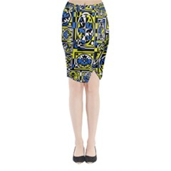Blue and yellow decor Midi Wrap Pencil Skirt