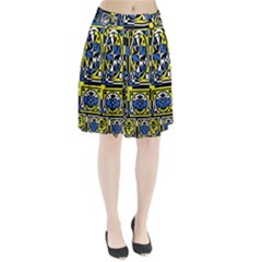 Blue and yellow decor Pleated Skirt