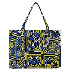Blue and yellow decor Medium Zipper Tote Bag