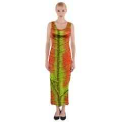 Nature Leaves Fitted Maxi Dress