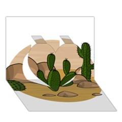 Desert 2 Heart 3D Greeting Card (7x5)