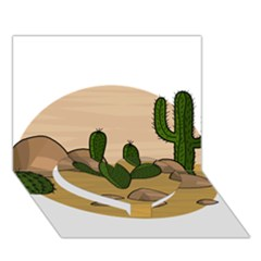 Desert 2 Heart Bottom 3d Greeting Card (7x5)