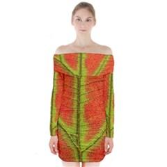 Nature Leaves Long Sleeve Off Shoulder Dress