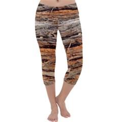 Natural Wood Texture Capri Yoga Leggings