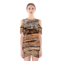 Natural Wood Texture Cutout Shoulder Dress