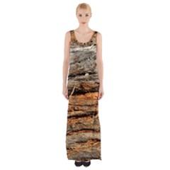Natural Wood Texture Maxi Thigh Split Dress