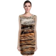 Natural Wood Texture Classic Sleeveless Midi Dress