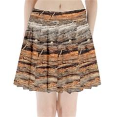 Natural Wood Texture Pleated Mini Skirt