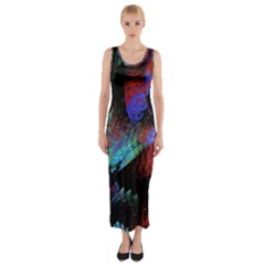 Native Abstract Digital Art Fitted Maxi Dress