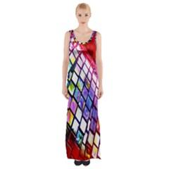 Multicolor Wall Mosaic Maxi Thigh Split Dress