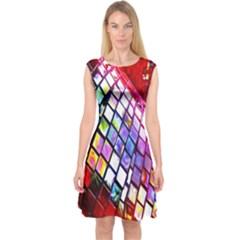 Multicolor Wall Mosaic Capsleeve Midi Dress