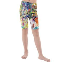 Multicolor Anime Colors Colorful Kids  Mid Length Swim Shorts