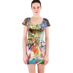 Multicolor Anime Colors Colorful Short Sleeve Bodycon Dress