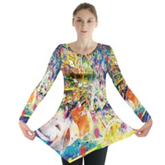Multicolor Anime Colors Colorful Long Sleeve Tunic