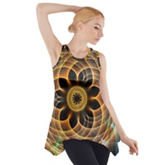 Mixed Chaos Flower Colorful Fractal Side Drop Tank Tunic