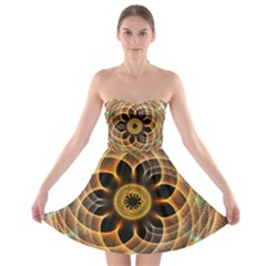 Mixed Chaos Flower Colorful Fractal Strapless Bra Top Dress