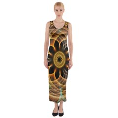 Mixed Chaos Flower Colorful Fractal Fitted Maxi Dress