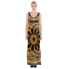 Mixed Chaos Flower Colorful Fractal Maxi Thigh Split Dress