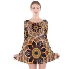 Mixed Chaos Flower Colorful Fractal Long Sleeve Velvet Skater Dress