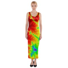 Misc Fractals Fitted Maxi Dress